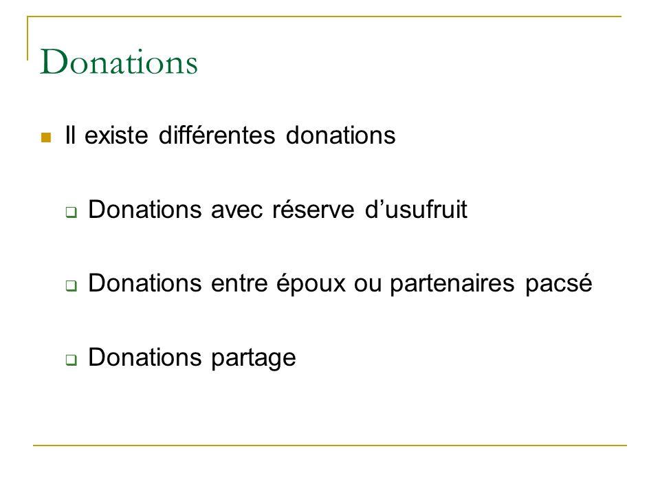 Donations Il existe différentes donations Donations avec réserve dusufruit Donations entre époux ou partenaires pacsé Donations partage
