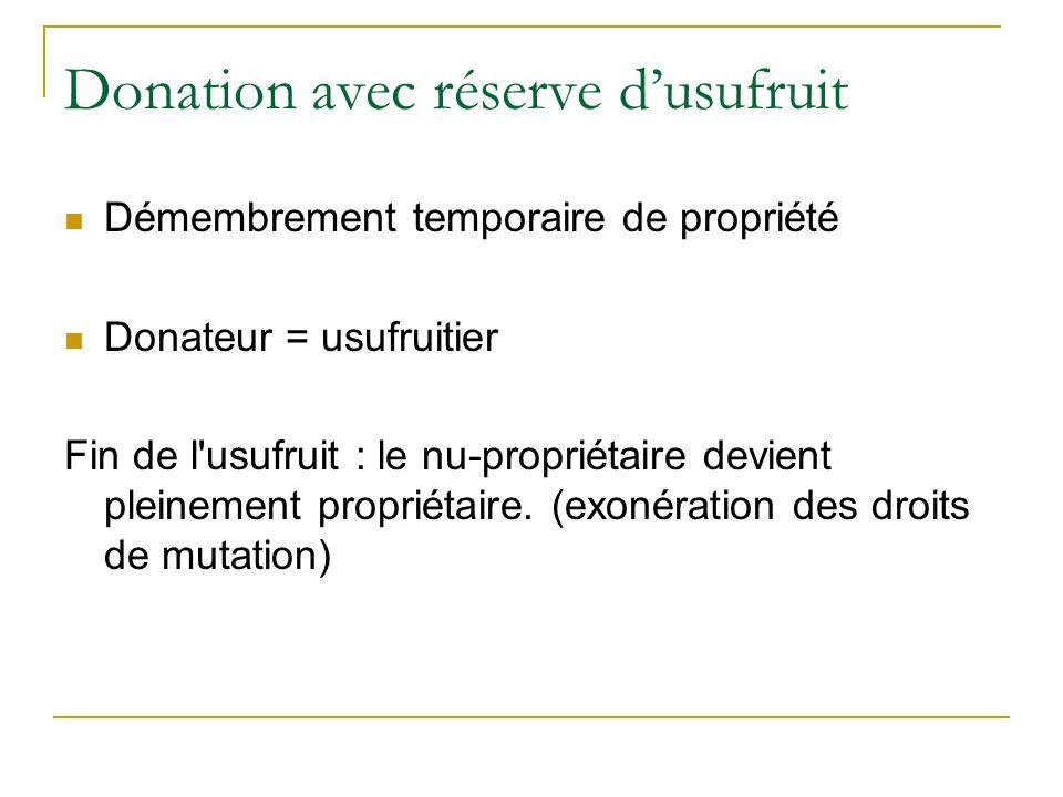 Donation avec réserve dusufruit Démembrement temporaire de propriété Donateur = usufruitier Fin de l'usufruit : le nu-propriétaire devient pleinement