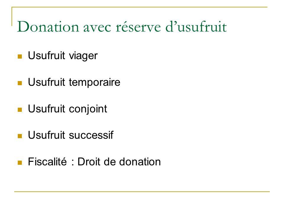 Donation avec réserve dusufruit Usufruit viager Usufruit temporaire Usufruit conjoint Usufruit successif Fiscalité : Droit de donation