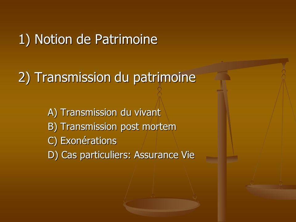 1) Notion de Patrimoine 2) Transmission du patrimoine A) Transmission du vivant B) Transmission post mortem C) Exonérations D) Cas particuliers: Assur