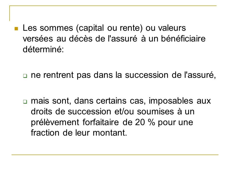 Les sommes (capital ou rente) ou valeurs versées au décès de l'assuré à un bénéficiaire déterminé: ne rentrent pas dans la succession de l'assuré, mai