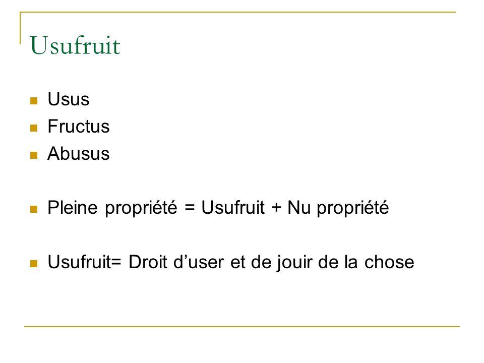 Usufruit Usus Fructus Abusus Pleine propriété = Usufruit + Nu propriété Usufruit= Droit duser et de jouir de la chose