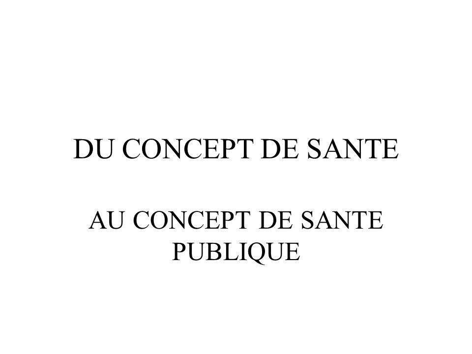 DU CONCEPT DE SANTE AU CONCEPT DE SANTE PUBLIQUE