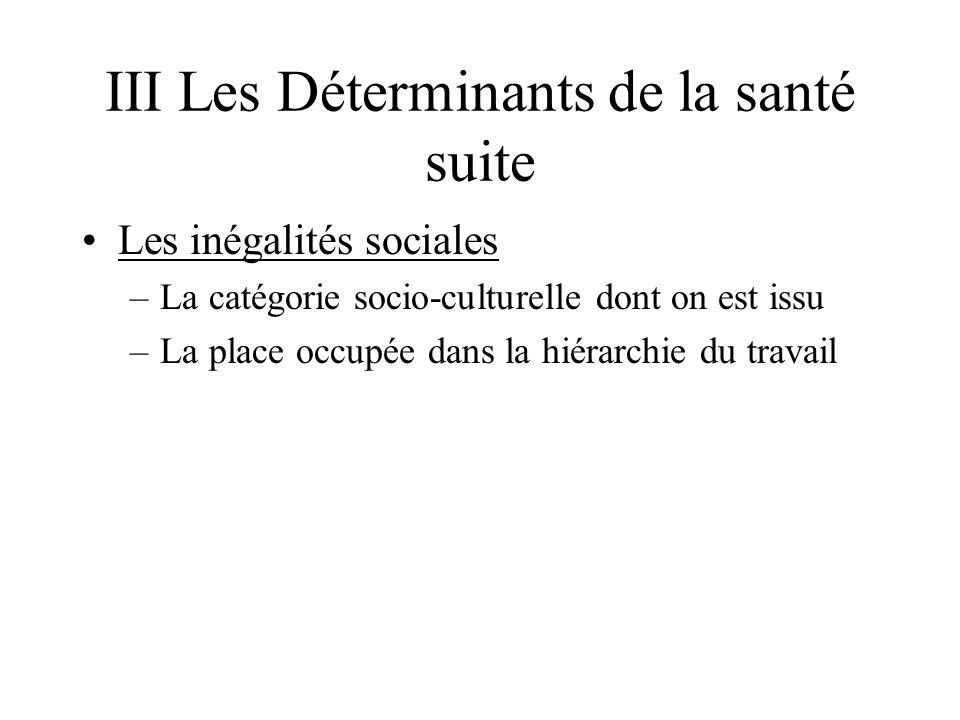 III Les Déterminants de la santé suite Les inégalités sociales –La catégorie socio-culturelle dont on est issu –La place occupée dans la hiérarchie du