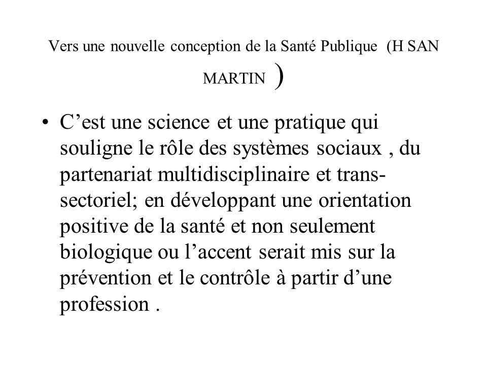 Vers une nouvelle conception de la Santé Publique (H SAN MARTIN ) Cest une science et une pratique qui souligne le rôle des systèmes sociaux, du parte