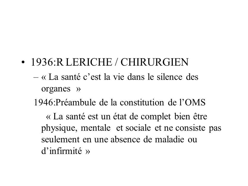 1936:R LERICHE / CHIRURGIEN –« La santé cest la vie dans le silence des organes » 1946:Préambule de la constitution de lOMS « La santé est un état de