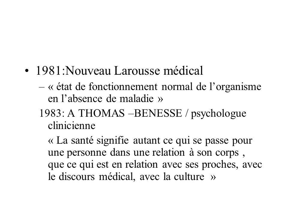 1985:R DUBOS : biologiste –« État physique et mental relativement exempt de gêne et de souffrance qui permet à lindividu de fonctionner aussi longtemps que possible dans le milieu ou le hasard ou le choix lont placé.