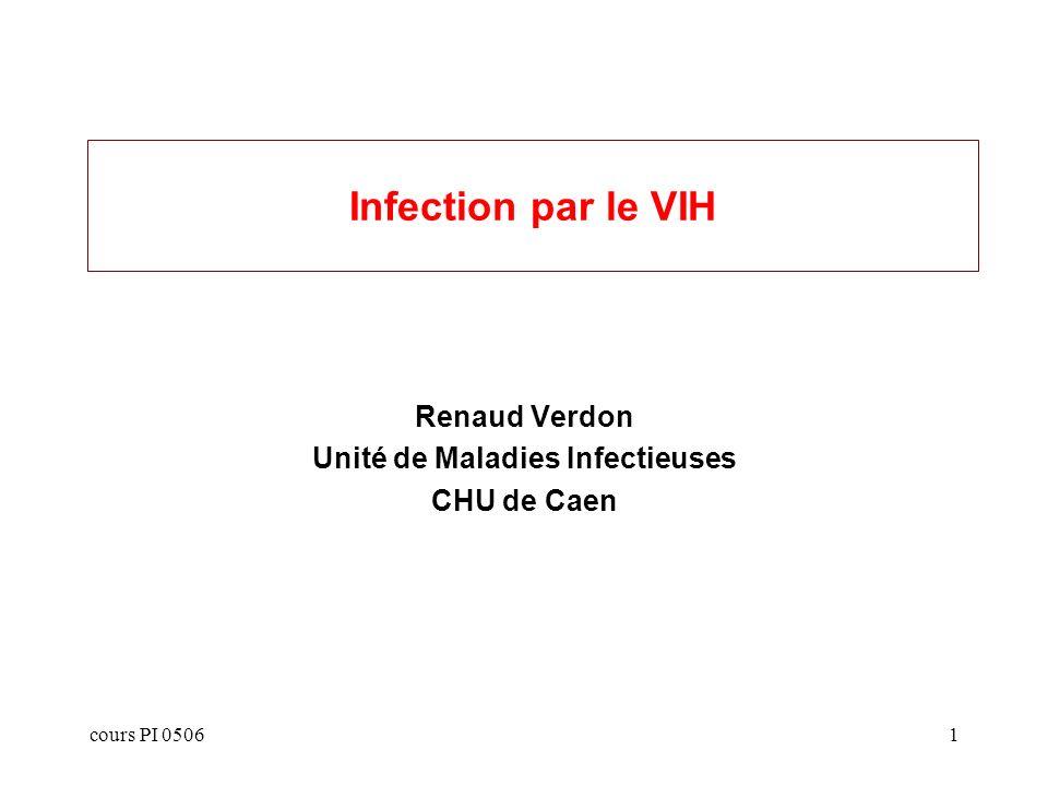 cours PI 05062 Plan Epidémiologie Immunologie Virologie Clinique: –Infections opportunistes –Tumeurs opportunistes –Pathologie associée au VIH Traitement: –Les molécules –Caractéristiques pharmacologiques –Règles dutilisation