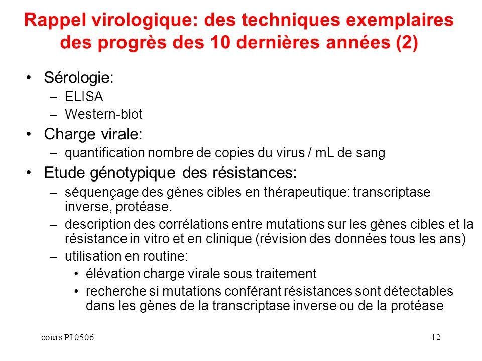 cours PI 050612 Rappel virologique: des techniques exemplaires des progrès des 10 dernières années (2) Sérologie: –ELISA –Western-blot Charge virale: –quantification nombre de copies du virus / mL de sang Etude génotypique des résistances: –séquençage des gènes cibles en thérapeutique: transcriptase inverse, protéase.