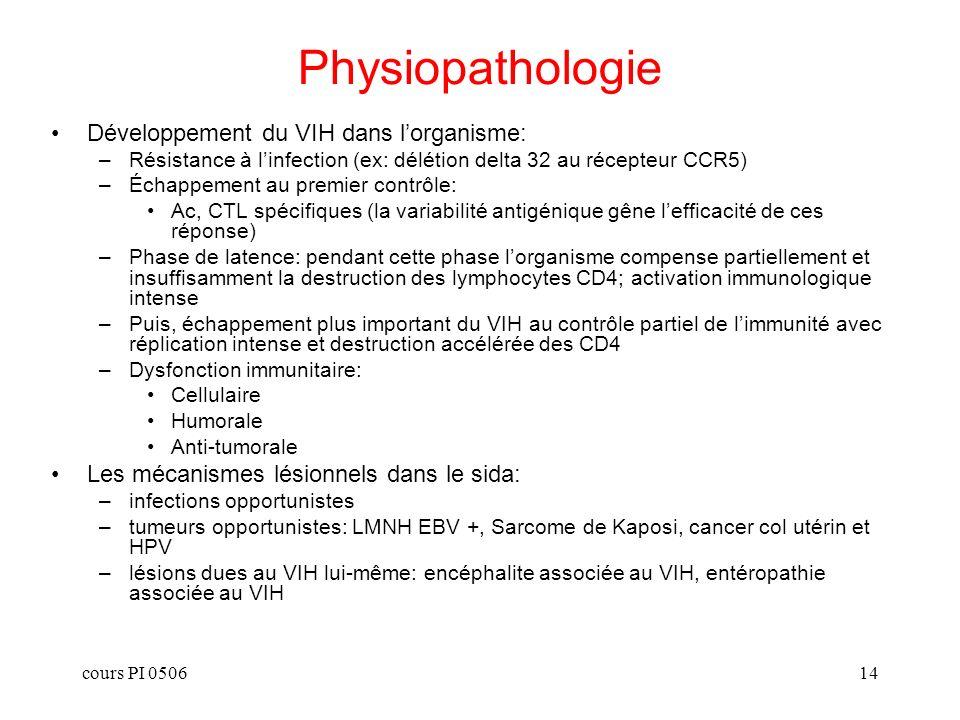 cours PI 050614 Physiopathologie Développement du VIH dans lorganisme: –Résistance à linfection (ex: délétion delta 32 au récepteur CCR5) –Échappement au premier contrôle: Ac, CTL spécifiques (la variabilité antigénique gêne lefficacité de ces réponse) –Phase de latence: pendant cette phase lorganisme compense partiellement et insuffisamment la destruction des lymphocytes CD4; activation immunologique intense –Puis, échappement plus important du VIH au contrôle partiel de limmunité avec réplication intense et destruction accélérée des CD4 –Dysfonction immunitaire: Cellulaire Humorale Anti-tumorale Les mécanismes lésionnels dans le sida: –infections opportunistes –tumeurs opportunistes: LMNH EBV +, Sarcome de Kaposi, cancer col utérin et HPV –lésions dues au VIH lui-même: encéphalite associée au VIH, entéropathie associée au VIH