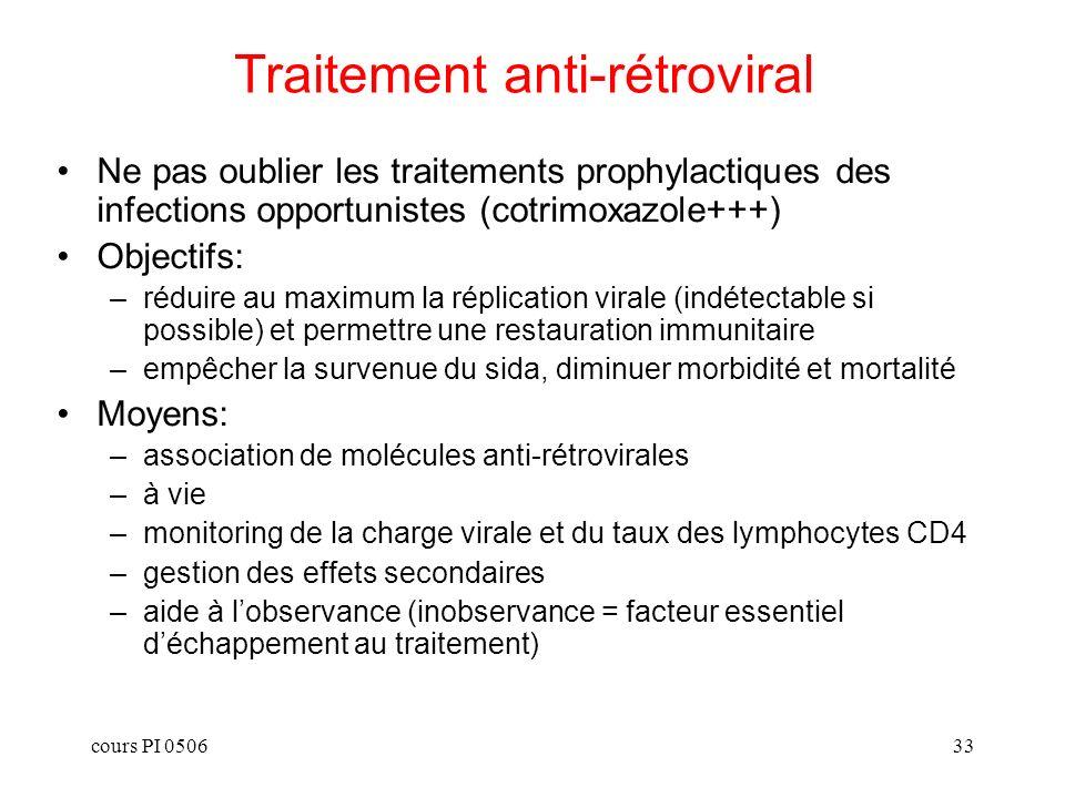cours PI 050633 Traitement anti-rétroviral Ne pas oublier les traitements prophylactiques des infections opportunistes (cotrimoxazole+++) Objectifs: –réduire au maximum la réplication virale (indétectable si possible) et permettre une restauration immunitaire –empêcher la survenue du sida, diminuer morbidité et mortalité Moyens: –association de molécules anti-rétrovirales –à vie –monitoring de la charge virale et du taux des lymphocytes CD4 –gestion des effets secondaires –aide à lobservance (inobservance = facteur essentiel déchappement au traitement)