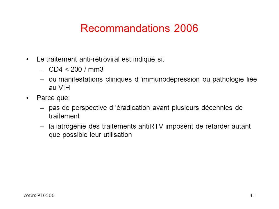 cours PI 050641 Recommandations 2006 Le traitement anti-rétroviral est indiqué si: –CD4 < 200 / mm3 –ou manifestations cliniques d immunodépression ou pathologie liée au VIH Parce que: –pas de perspective d éradication avant plusieurs décennies de traitement –la iatrogénie des traitements antiRTV imposent de retarder autant que possible leur utilisation