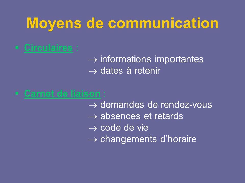 Moyens de communication Circulaires : informations importantes dates à retenir Carnet de liaison : demandes de rendez-vous absences et retards code de