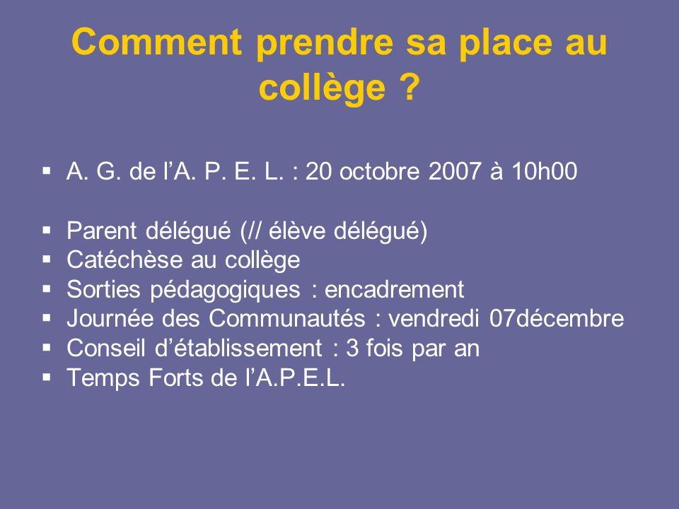 Comment prendre sa place au collège ? A. G. de lA. P. E. L. : 20 octobre 2007 à 10h00 Parent délégué (// élève délégué) Catéchèse au collège Sorties p