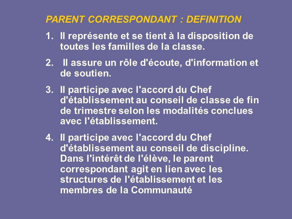 PARENT CORRESPONDANT : DEFINITION 1. Il représente et se tient à la disposition de toutes les familles de la classe. 2. Il assure un rôle d'écoute, d'