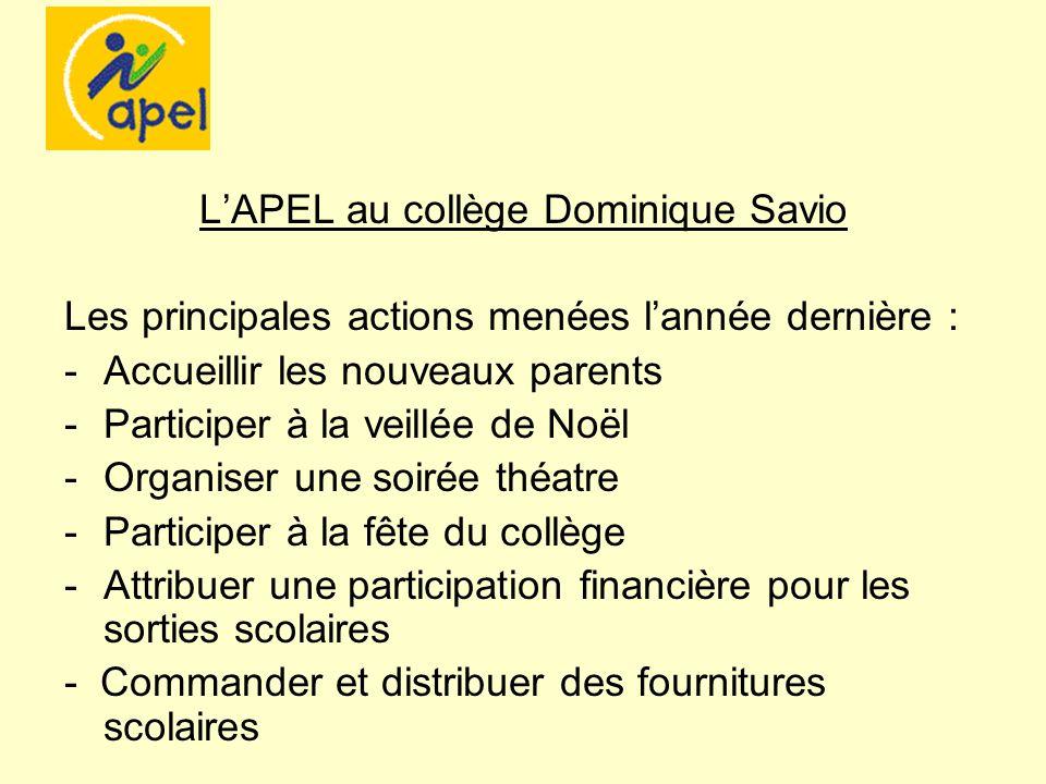 LAPEL au collège Dominique Savio Les principales actions menées lannée dernière : -Accueillir les nouveaux parents -Participer à la veillée de Noël -O