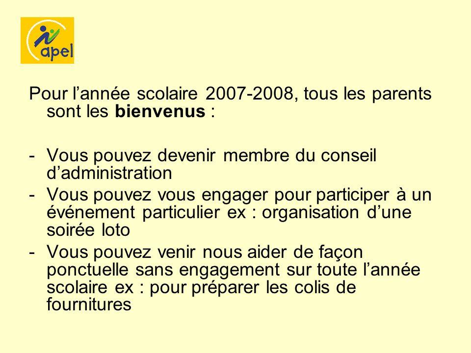 Pour lannée scolaire 2007-2008, tous les parents sont les bienvenus : -Vous pouvez devenir membre du conseil dadministration -Vous pouvez vous engager