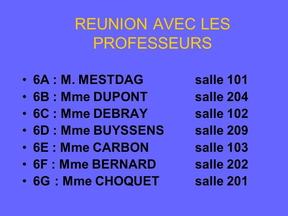 REUNION AVEC LES PROFESSEURS 6A : M. MESTDAGsalle 101 6B : Mme DUPONTsalle 204 6C : Mme DEBRAYsalle 102 6D : Mme BUYSSENSsalle 209 6E : Mme CARBONsall