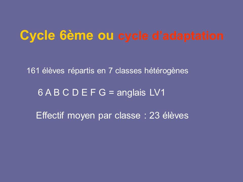Cycle 6ème ou cycle dadaptation 161 élèves répartis en 7 classes hétérogènes 6 A B C D E F G = anglais LV1 Effectif moyen par classe : 23 élèves