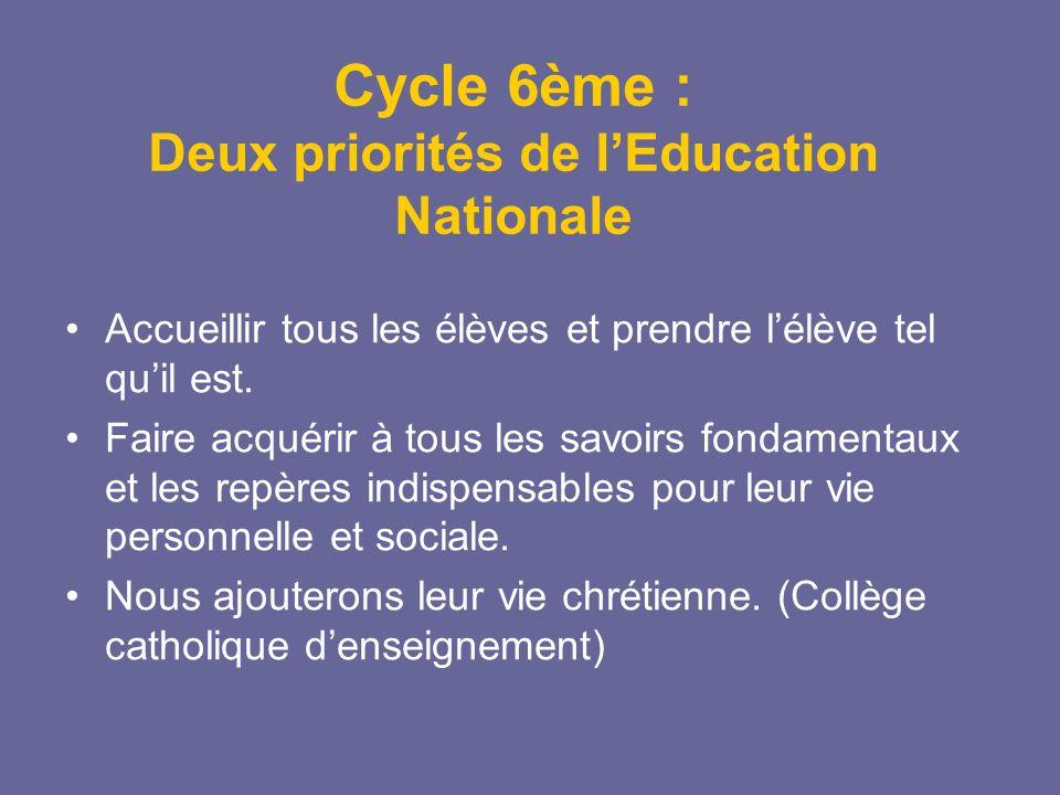 Cycle 6ème : Deux priorités de lEducation Nationale Accueillir tous les élèves et prendre lélève tel quil est. Faire acquérir à tous les savoirs fonda