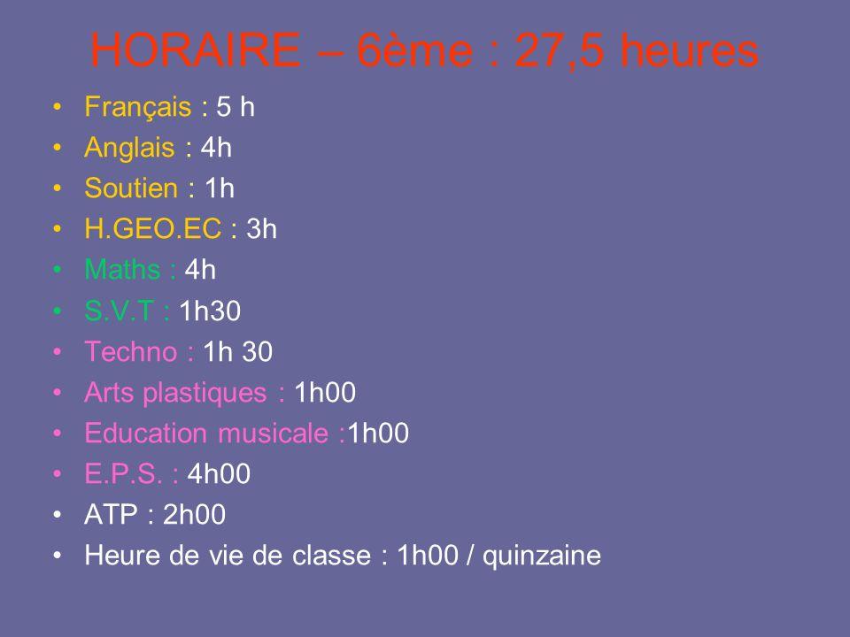 HORAIRE – 6ème : 27,5 heures Français : 5 h Anglais : 4h Soutien : 1h H.GEO.EC : 3h Maths : 4h S.V.T : 1h30 Techno : 1h 30 Arts plastiques : 1h00 Educ