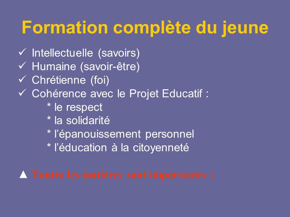 Formation complète du jeune Intellectuelle (savoirs) Humaine (savoir-être) Chrétienne (foi) Cohérence avec le Projet Educatif : * le respect * la soli
