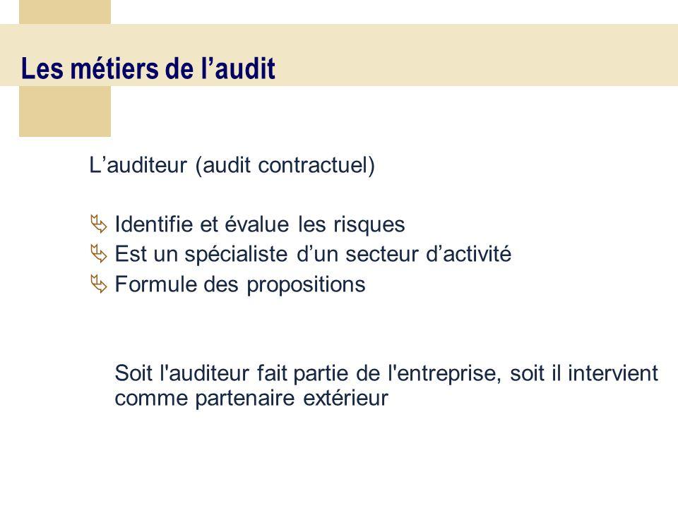 13 Les métiers de laudit Lauditeur (audit contractuel) Identifie et évalue les risques Est un spécialiste dun secteur dactivité Formule des propositions Soit l auditeur fait partie de l entreprise, soit il intervient comme partenaire extérieur