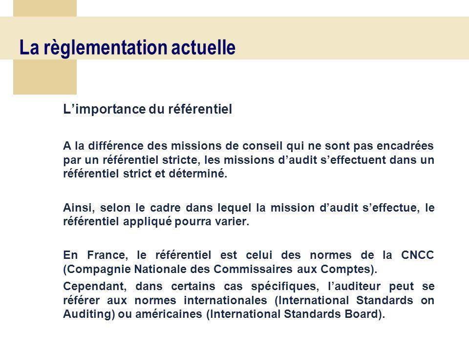 16 La règlementation actuelle Limportance du référentiel A la différence des missions de conseil qui ne sont pas encadrées par un référentiel stricte, les missions daudit seffectuent dans un référentiel strict et déterminé.