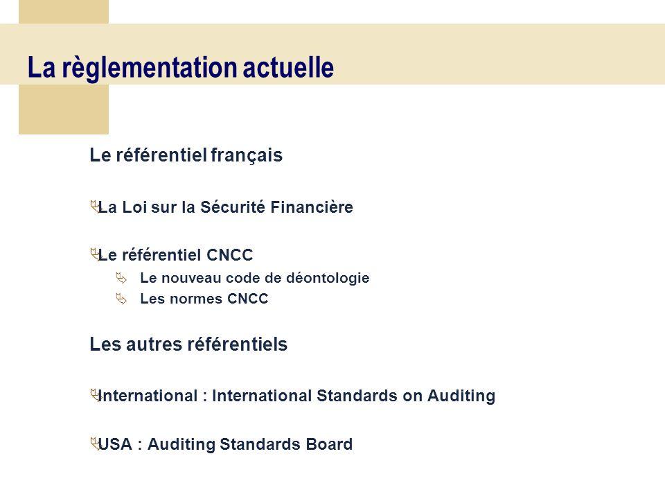 17 La règlementation actuelle Le référentiel français La Loi sur la Sécurité Financière Le référentiel CNCC Le nouveau code de déontologie Les normes CNCC Les autres référentiels International : International Standards on Auditing USA : Auditing Standards Board
