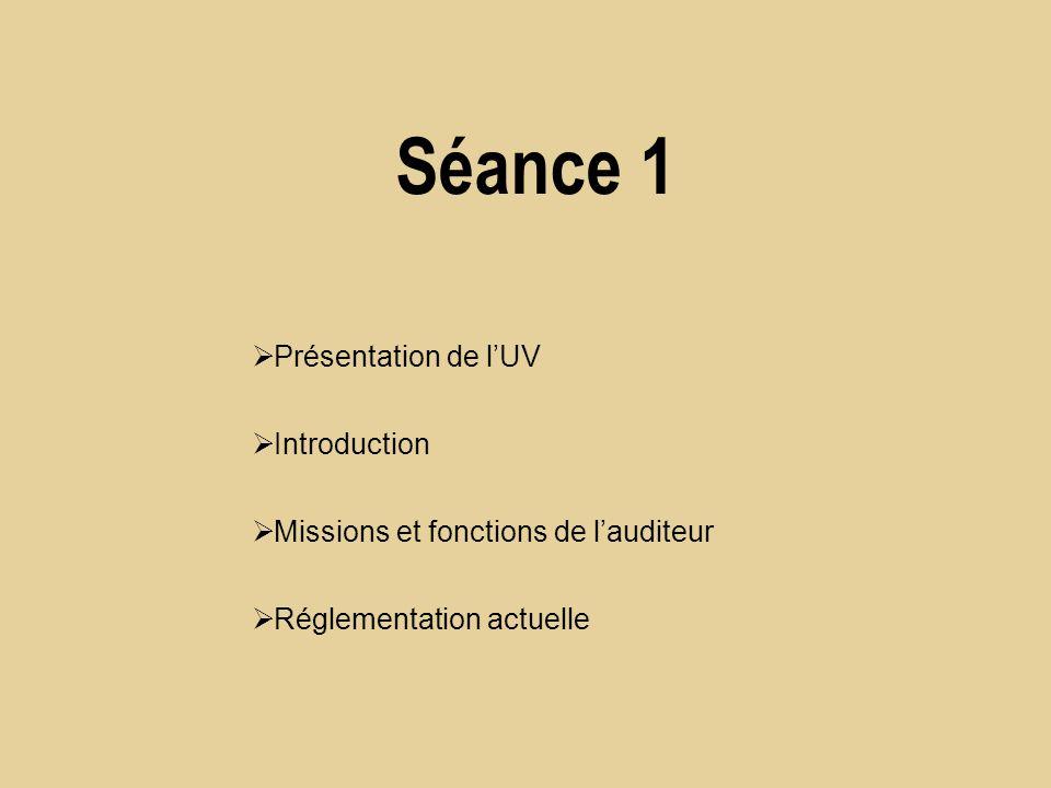 Séance 1 Présentation de lUV Introduction Missions et fonctions de lauditeur Réglementation actuelle