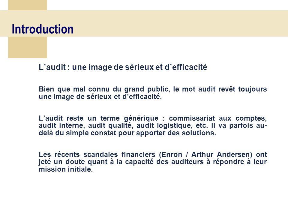 6 Laudit : une image de sérieux et defficacité Bien que mal connu du grand public, le mot audit revêt toujours une image de sérieux et defficacité.
