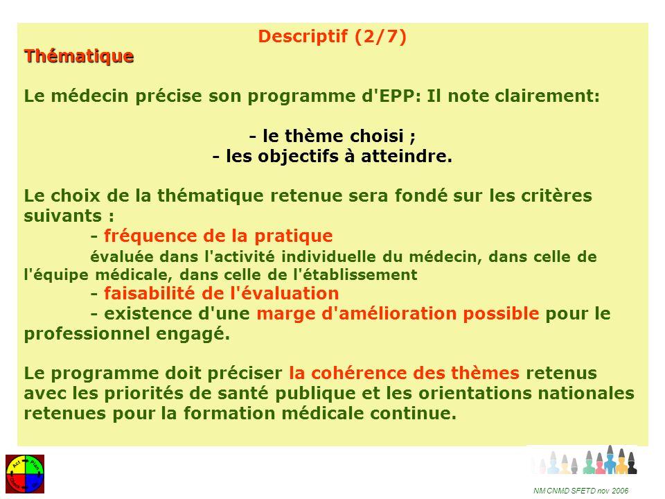 16 Descriptif (3/7) Méthode (1) Le programme d EPP précise la méthode retenue pour l évaluation 1- la méthode d évaluation utilisée (audit, revue de pertinence, chemin clinique, revue de morbi-mortalité…) ainsi que les critères sur lesquels porte l évaluation ; 2- les modalités de recueil et d analyse des données.