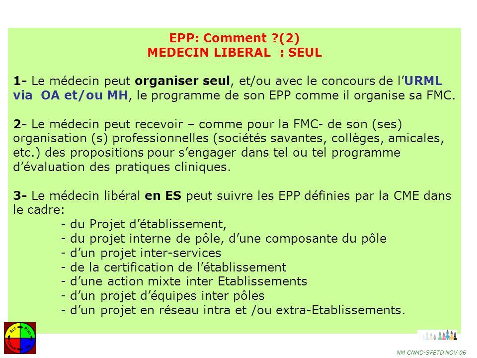 32 MÉDECIN LIBÉRAL EXERÇANT SOIT EN CABINET, SOIT EN CABINET ET EN ÉTAB de SANTÉ : CABINET ETAB de SANTÉ URML CME Organise EPP MH et /ou OA et /ou Sous-Commission CME Certificats 100 crédits Développer lEPP dans la région 1-Accompagne les médecins dans lévaluation 2-Facilite lamélioration de la pratique 3-Sassure de la mise en œuvre de lamélioration de la pratique Programmes EPP Certificats 100 crédits EPP: Comment .