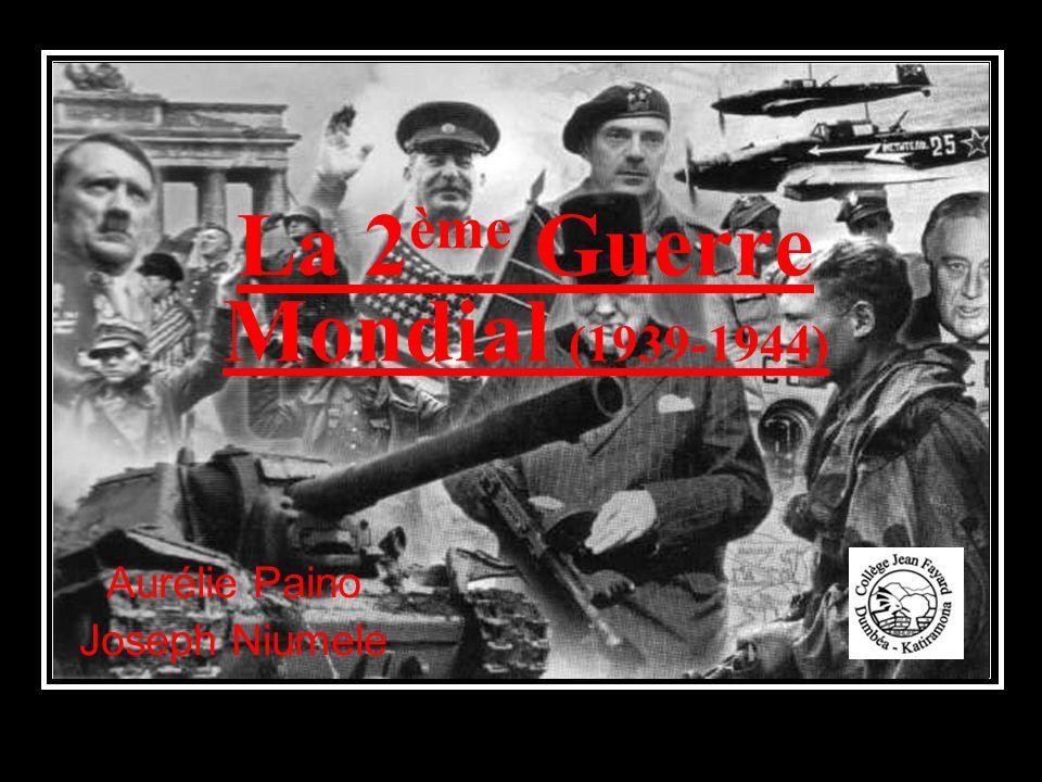 La Seconde Guerre mondiale (ou Deuxième Guerre mondiale) est un conflit armée à l échelle planétaire qui dura de septembre 1939 à septembre 1945.