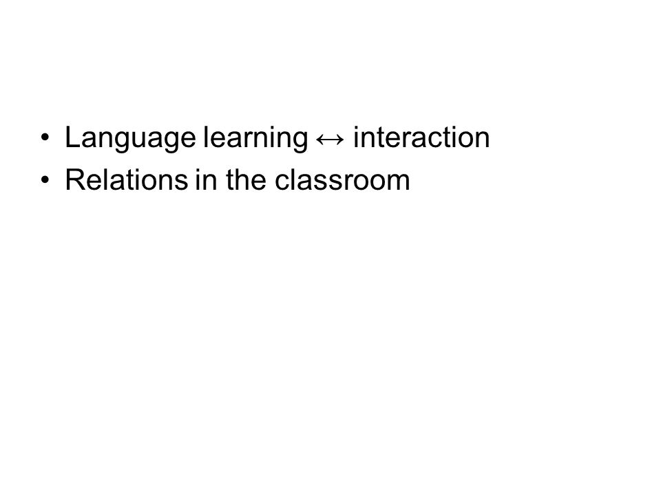I-Interactions in the classroom - Discourse as interaction (Bakhtine, 1977) - different levels - Asymetrical competence - Negative and positive representations - Code-switching II- Roles - A change of roles - SPA - Pedagogic triangle III The multilingual subject - A change of paradigm (locutor/subject; monolingual/plurilingual) - The learner/ subjects autonomy (Holec) IV CALL, distant learning, mixed learning - computer assisted learning - tandem