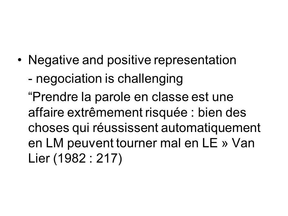 Negative and positive representation - negociation is challenging Prendre la parole en classe est une affaire extrêmement risquée : bien des choses qu
