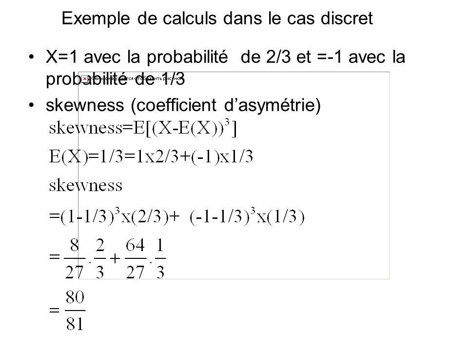 Exemple de calculs dans le cas discret X=1 avec la probabilité de 2/3 et =-1 avec la probabilité de 1/3 skewness (coefficient dasymétrie)