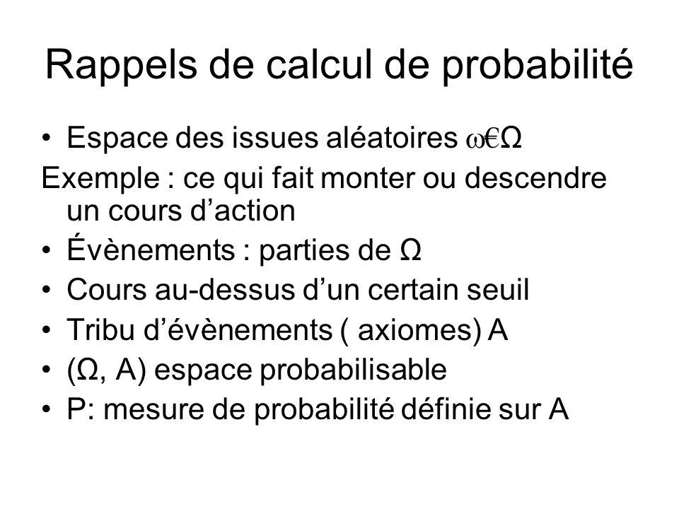 Rappels de calcul de probabilité Espace des issues aléatoires Ω Exemple : ce qui fait monter ou descendre un cours daction Évènements : parties de Ω Cours au-dessus dun certain seuil Tribu dévènements ( axiomes) A (Ω, A) espace probabilisable P: mesure de probabilité définie sur A