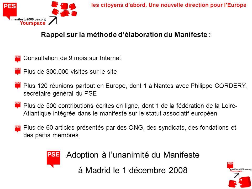 les citoyens dabord, Une nouvelle direction pour lEurope Consultation de 9 mois sur Internet Rappel sur la méthode délaboration du Manifeste : Plus 12