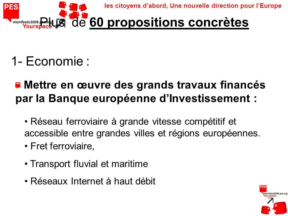 les citoyens dabord, Une nouvelle direction pour lEurope Plus de 60 propositions concrètes 1- Economie : Réseau ferroviaire à grande vitesse compétitif et accessible entre grandes villes et régions européennes.
