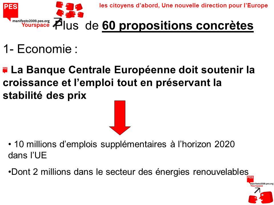 les citoyens dabord, Une nouvelle direction pour lEurope La Banque Centrale Européenne doit soutenir la croissance et lemploi tout en préservant la stabilité des prix Plus de 60 propositions concrètes 1- Economie : 10 millions demplois supplémentaires à lhorizon 2020 dans lUE Dont 2 millions dans le secteur des énergies renouvelables