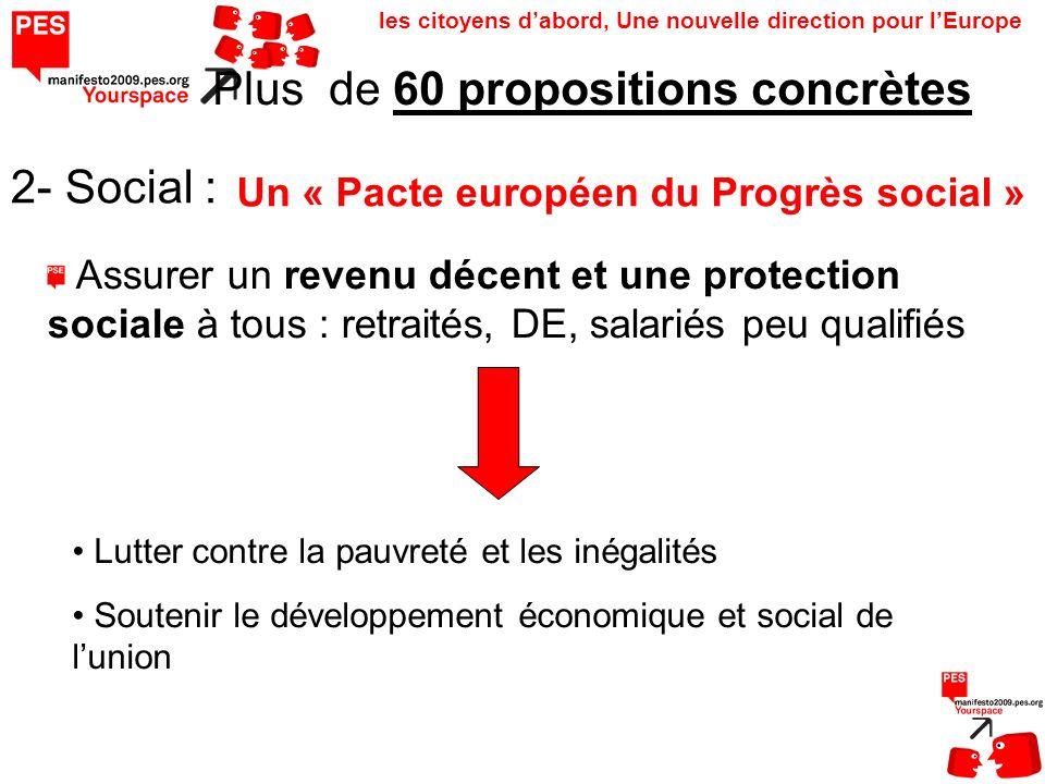 les citoyens dabord, Une nouvelle direction pour lEurope Plus de 60 propositions concrètes 2- Social : Un « Pacte européen du Progrès social » Assurer