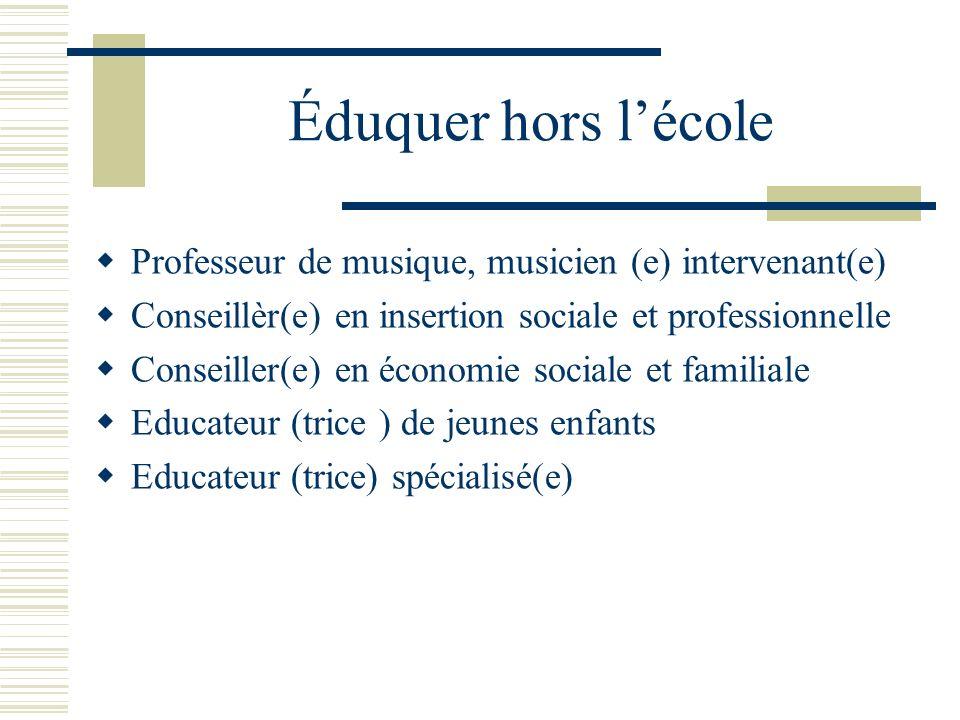 Éduquer hors lécole Professeur de musique, musicien (e) intervenant(e) Conseillèr(e) en insertion sociale et professionnelle Conseiller(e) en économie sociale et familiale Educateur (trice ) de jeunes enfants Educateur (trice) spécialisé(e)