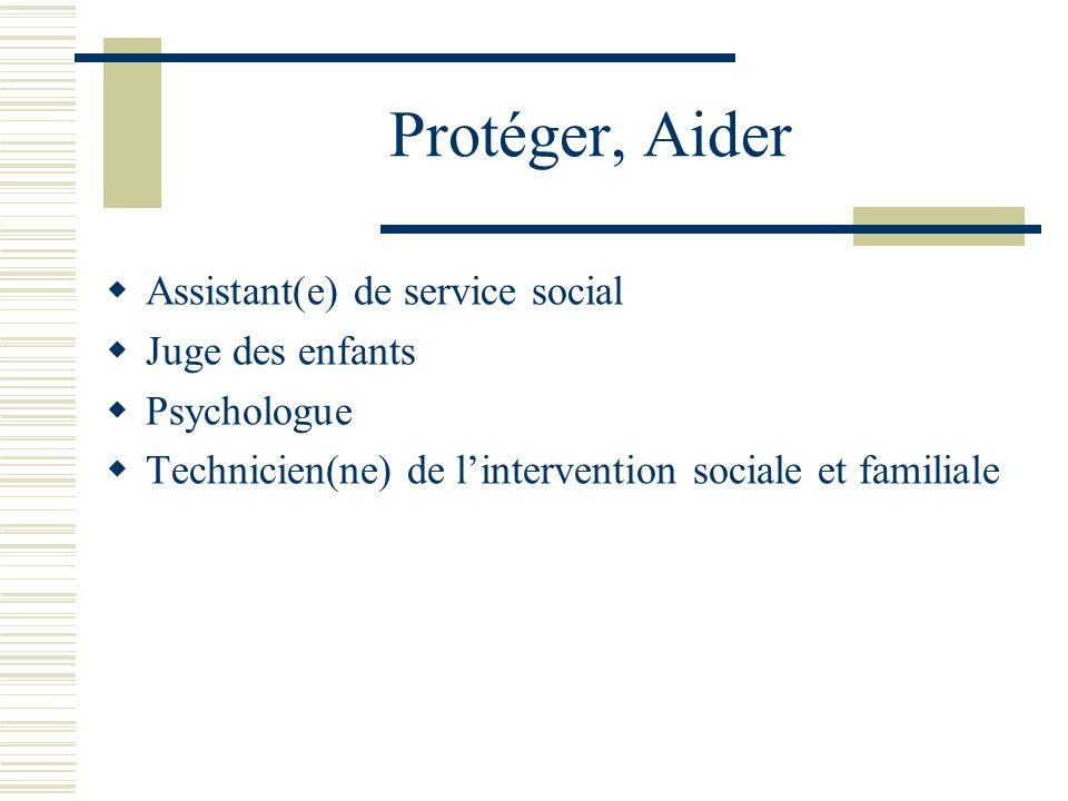 Protéger, Aider Assistant(e) de service social Juge des enfants Psychologue Technicien(ne) de lintervention sociale et familiale