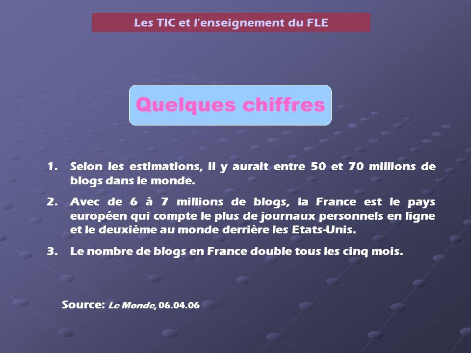 Les TIC et lenseignement du FLE Quelques chiffres 1.Selon les estimations, il y aurait entre 50 et 70 millions de blogs dans le monde.