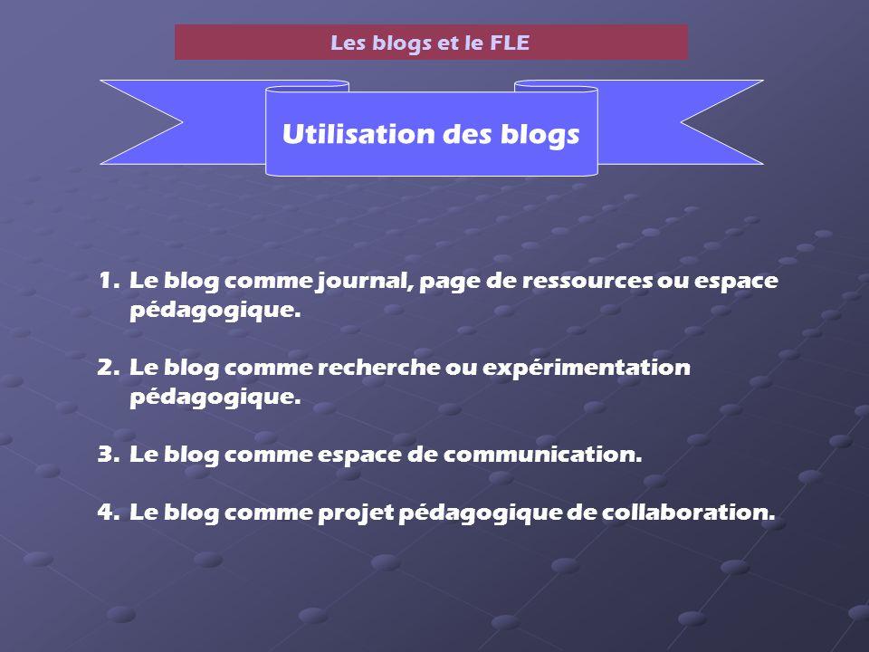 Les blogs et le FLE 1.Le blog comme journal, page de ressources ou espace pédagogique.