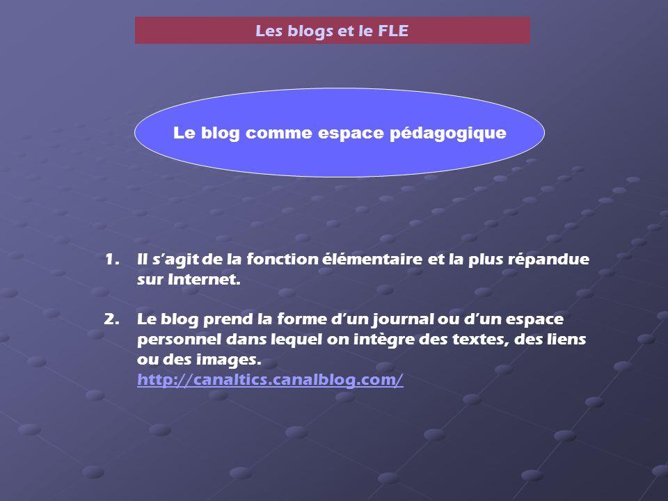 Les blogs et le FLE 1.Il sagit de la fonction élémentaire et la plus répandue sur Internet.