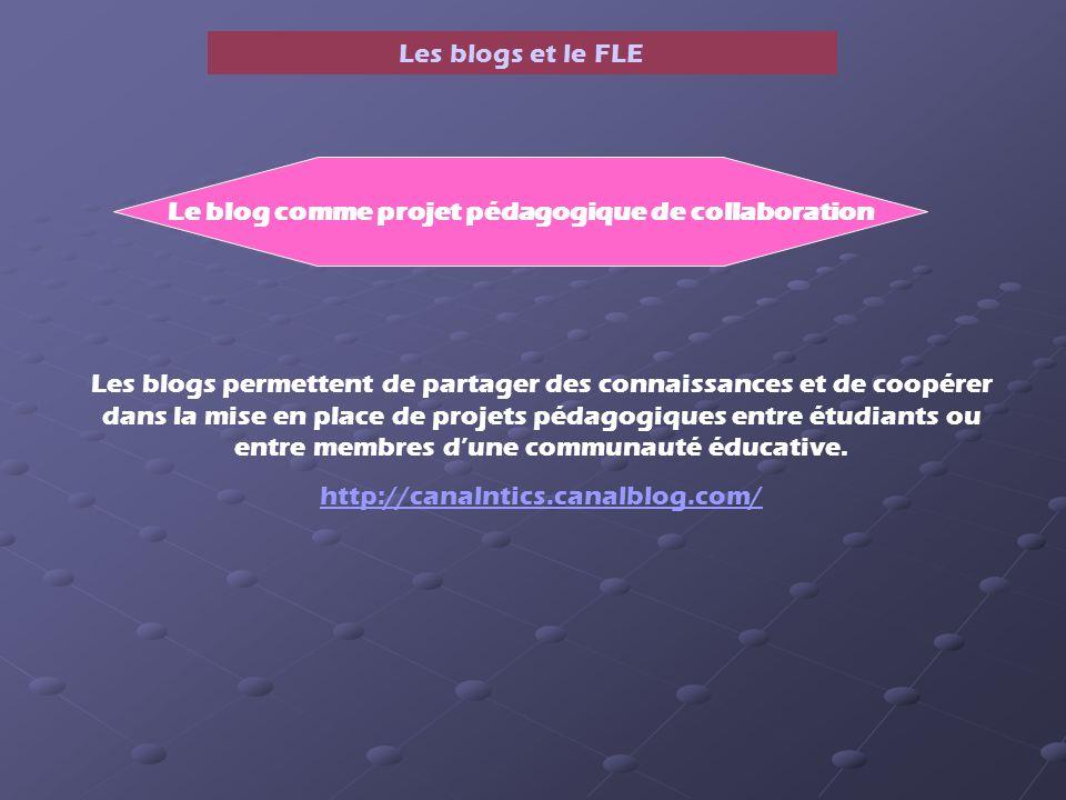 Les blogs et le FLE Le blog comme projet pédagogique de collaboration Les blogs permettent de partager des connaissances et de coopérer dans la mise en place de projets pédagogiques entre étudiants ou entre membres dune communauté éducative.