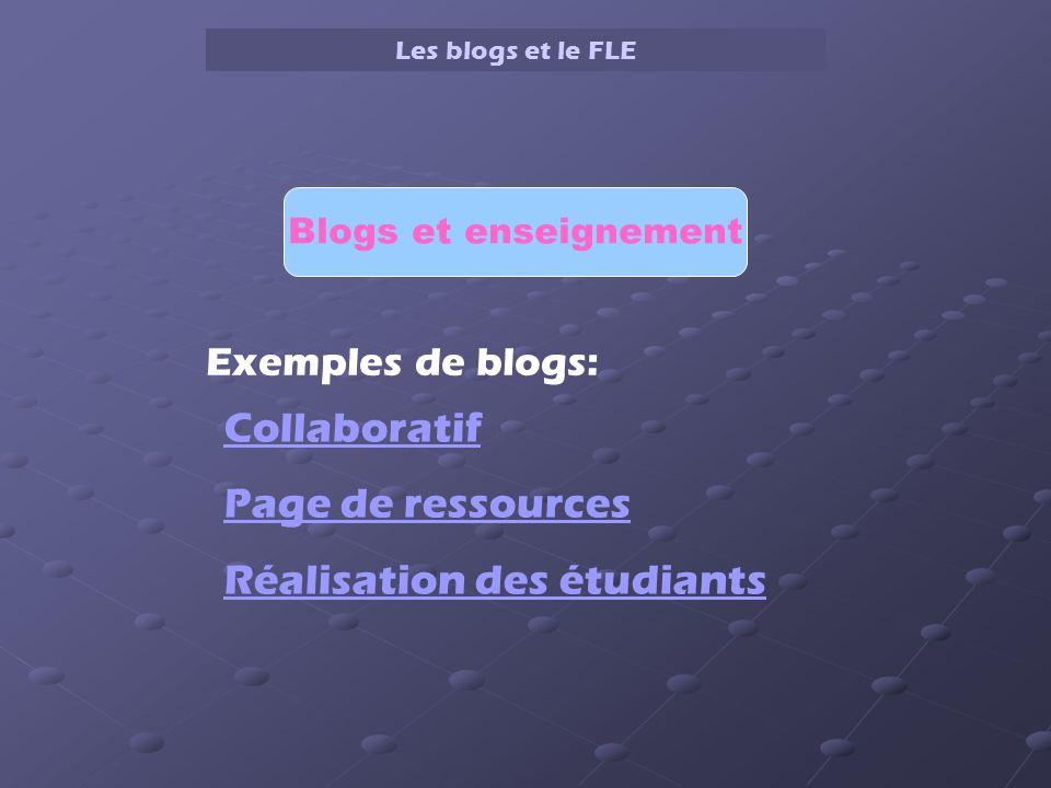 Les blogs et le FLE Blogs et enseignement Exemples de blogs: Collaboratif Page de ressources Réalisation des étudiants
