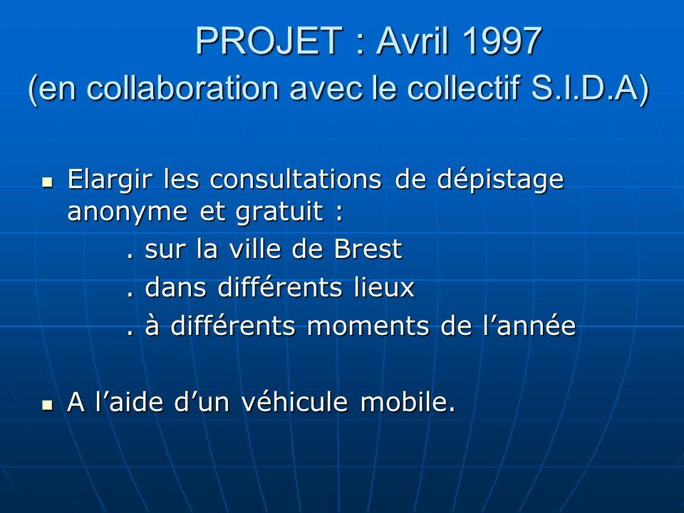 PROJET : Avril 1997 (en collaboration avec le collectif S.I.D.A) Elargir les consultations de dépistage anonyme et gratuit : Elargir les consultations de dépistage anonyme et gratuit :.